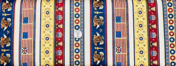 Red, white and blue patriotic stripe with eagle, Liberty Bell and more. American Pride by Quilting Treasures 26974 - fabric by the yard