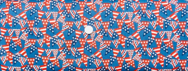 Red, white and blue patriotic American flag banner. American Spirit Pennant Flags by 3 Wishes 16066 - fabric by the yard