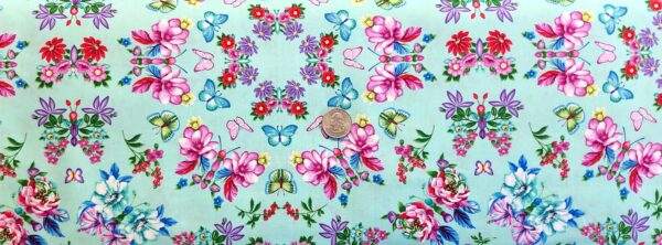 Flowers and butterflies in circular design on aqua. Floral butterflies. Sweet Perfume by Studio E 4991- Fabric by the yard
