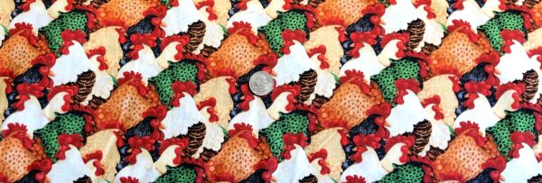 Chickens! Red, brown, buff, white and green chickens packed. Farm Raised by Henry Glass & Co. 1975 - Fabric by the yard