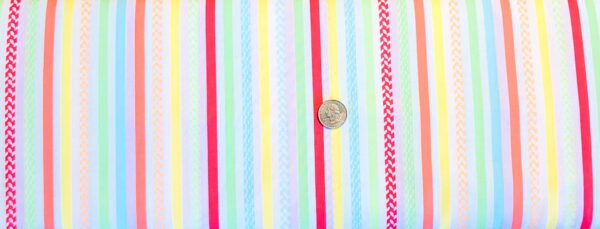 Vertical stripes in melon, yellow, lime, blue and white. Friendship Forest by Kanvas Studios 08945 - Fabric by the yard