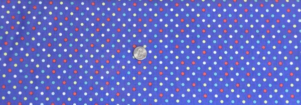 White, melon, aqua and yellow dots on Periwinkle. Bright Spot by Michael Miller CX8188 peri - Fabric by the yard