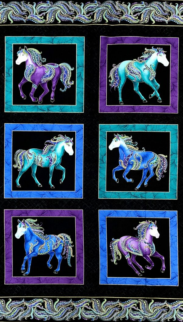 Purple and aqua horses on black with metallic gold accents panel. Horsen Around by Benartex 6850M - 5/8 y fabric by the yard