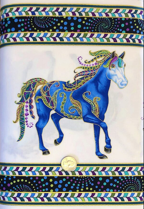 Purple and aqua horses on white with metallic gold accented border print. Horsen Around by Benartex 6851M - fabric by the yard