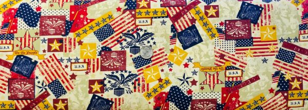 American Flag, Eagle, stars and stripes in this vintage collage. Patriotic Prints by Choice Fabrics 48484 - Fabric by the yard.