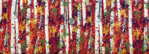 Colorful Autumn leaves and tree trunks. Timeless Treasures C7768 - Fabric by the yard.