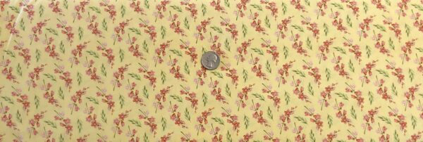 Rust and sage sprigs on pastel yellow. Blessings by Henry Glass 9006. - Fabric by the yard.