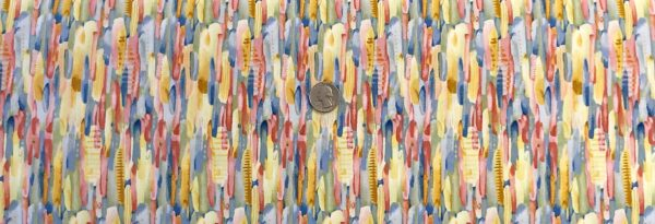 Multi colored pastel feathers packed. Blessings by Henry Glass 9005. - Fabric by the yard.