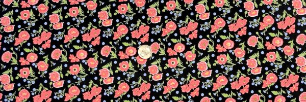 Red poppies on black with green and blue accents. Small sized. Poppy Meadows by Henry Glass 1990. - Fabric yard of fabric