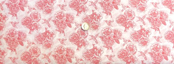 Pink floral and hummingbird outlines all over white. Poppy Meadows by Henry Glass 1992. - Fabric yard of fabric