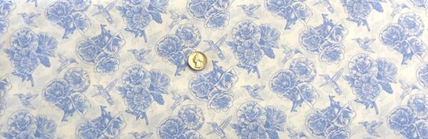 Light blue floral and hummingbird outlines all over white. Poppy Meadows by Henry Glass 1992. - Fabric yard of fabric