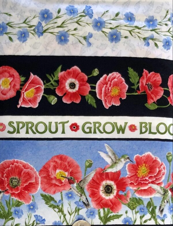 Red poppies on white with green and blue accents in blue border design. Poppy Meadows by Henry Glass 1889. - Fabric yard of fabric