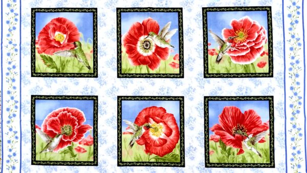 Red poppies on white with green and blue accents in 5/8 panel. Poppy Meadows by Henry Glass 1986. - Fabric yard of fabric