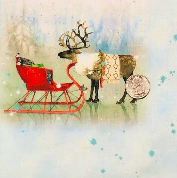 Christmas caribou and sleds on blue. Lake Caribou by Quilting Treasures 27080 - fabric by the yard