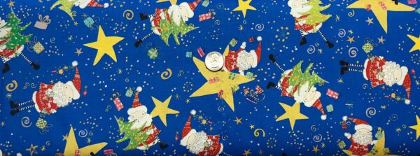 Cartoon Santa, Christmas trees and stars all over royal blue. Happy Christmas by Quilting Treasures 27256 - fabric by the yard