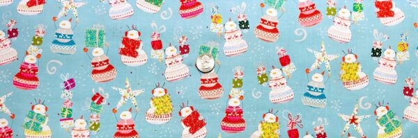 Cartoon snowmen with Christmas gifts on light blue. Happy Christmas by Quilting Treasures 27257 - fabric by the yard