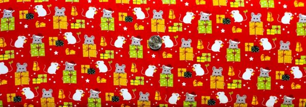 White and grey mice with Christmas presents on red. Meowy Christmas by Quilting Treasures 27118 - fabric by the yard
