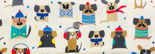 Cool winter pups in scarves and ear muffs on tan. Chilly Dogs by Quilting Treasures 27145 - Fabric by the yard.