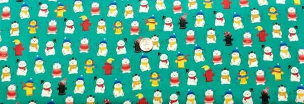 Snowmen in scarves and ear muffs and fire hydrants all over teal green. Chilly Dogs by Quilting Treasures 27147 - Fabric by the yard.
