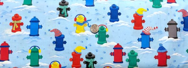 Fire hydrants in scarves, hats and ear muffs snowy light blue. Chilly Dogs by Quilting Treasures 27146 - Fabric by the yard.