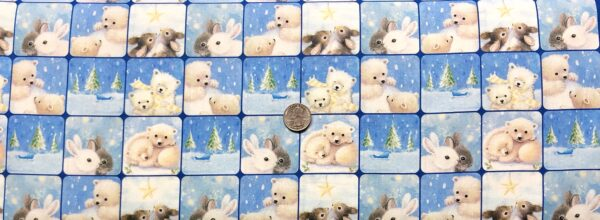 Snowy bunnies and bears in winter scenic squares. Woodland Cuties by Quilting Treasures 27113 - Fabric by the yard.