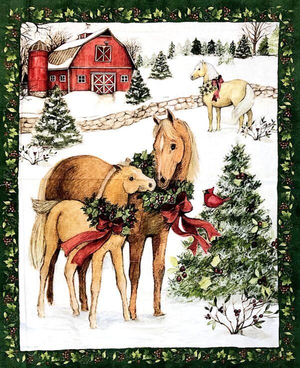 Horses, barns and snowy pine trees in this one yard panel. Two Horse Panel by Springs Creative 19354 fabric by the yard