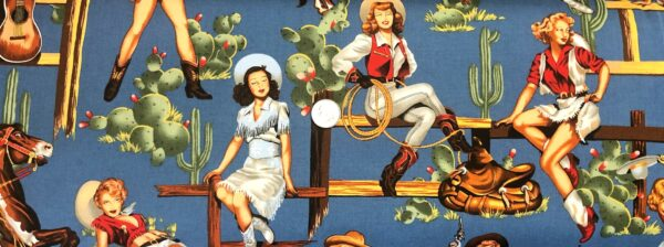 Alexander Henry - From the Hip. Pin-up cowgirls, cactus and horses all over wedgewood blue. 2494 - Fabric by the yard.