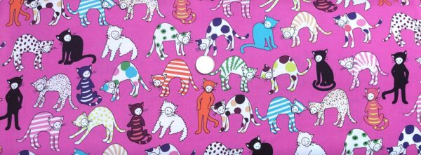 Alexander Henry - Kitty Kat Max. Anthropomorphic cats all over bright pink. 8481 - Fabric by the yard.