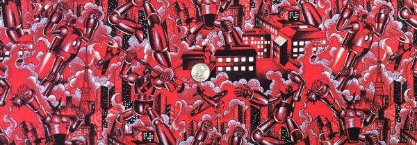 Alexander Henry - Tokyo Bots. Red robots packed. 8620 - Fabric by the yard.