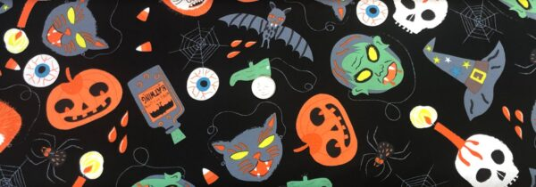 Alexander Henry - Halloween all over black. Skeleton, witches hats, bats and more. 8741 - Fabric by the yard.