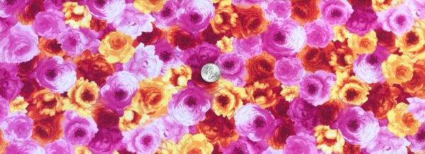 Beautiful bright water color roses in pink and orange packed. Blossom by Timeless Treasures c7938 - Fabric by the yard