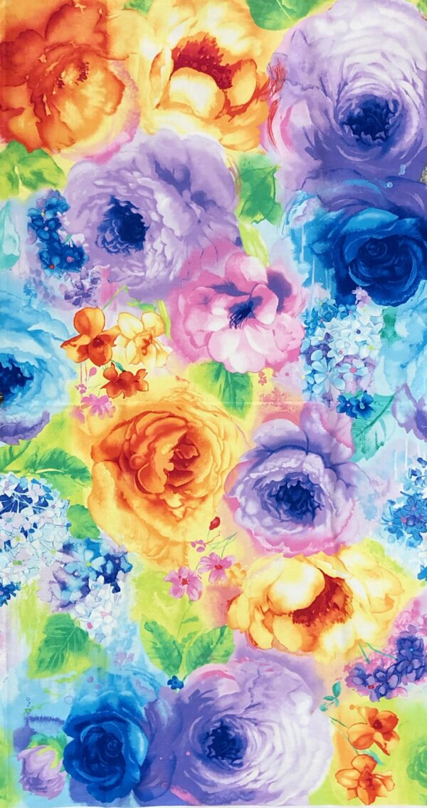 Beautiful bright water color roses in blue, pink, orange, yellow and more in a 5/8 yard panel. Blossom by Timeless Treasures c7936