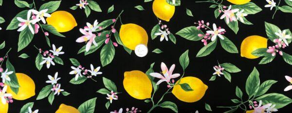 Lemons! Bright yellow lemons with pink and white flowers all over black. Fruit by Timeless Treasures 7480 - Fabric by the yard