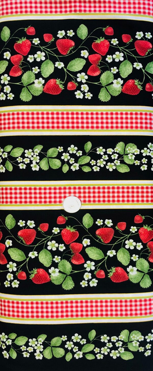 Strawberries! Bright red berries and blossoms with red and white check in a stripe. Fruit by Timeless Treasures 7348 - Fabric by the yard