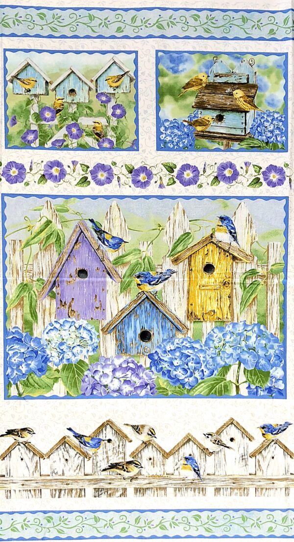 Multicolor wooden birdhouses with birds, hydrangeas and morning glories . Hydrangea Birdsong by Henry Glass 1755P - 5/8 yard panel