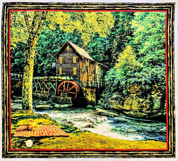 "Barns and rushing water. Digital Artworks VIII Patches 24"" Panel by Quilting Treasures 26590 - 24"" Panel."