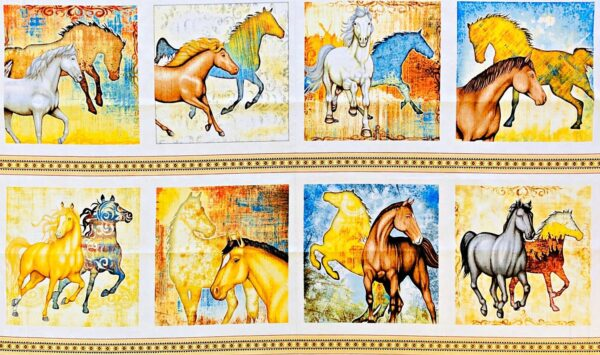 Beautiful Mustang horse panel in sunset shades. Mustang Sunset by Quilting Treasures 26480 - 5/8th yard panel.