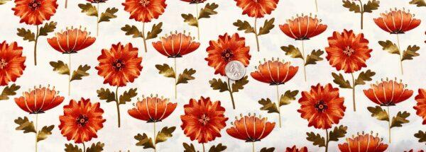 Beautiful orange fall flower on cream background. Green, orange and cream. Leaf into Autumn by Kanvas Studios 8320 - Fabric by the yard