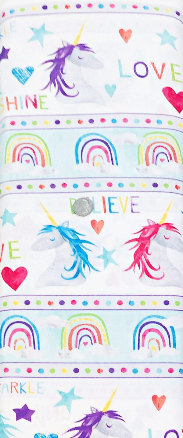 Believe in unicorns, rainbows, love, sunshine and sparkles. Sparkle Magic by Wilmington 83102 - 1 yard of fabric.