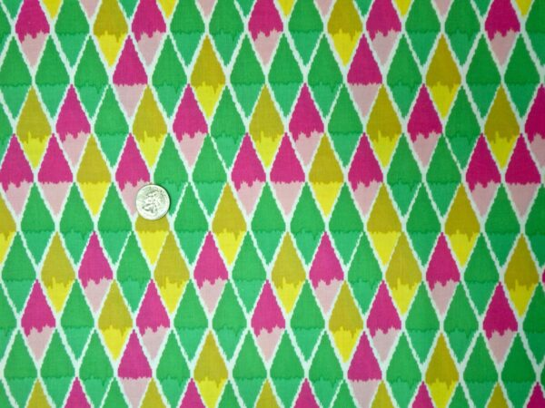 Blend - Maude Asbury - Poppy - 101123021 - Green, Yellow and Pink Two-tone Diamonds - One Yard of Fabric By the yard