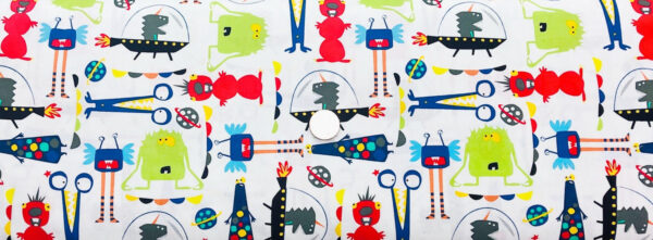 Brightly colored aliens, spaceships & planets on white. Red, green, blue and yellow. Alien by Windham Fabrics 43231-3 - Fabric by the yard.