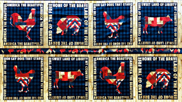 Chickens, pigs and cows in red,white and blue on blue background. Fourth on the Farm by Robert Kaufman 16386 - 5/8 yard panel.