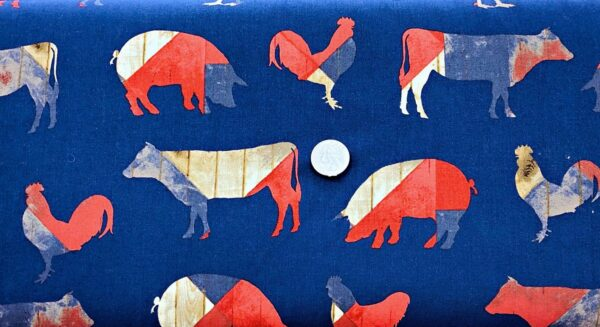 Chickens, pigs and cows in red,white and blue on blue background. Fourth on the Farm by Robert Kaufman 16387 - Fabric by the yard.