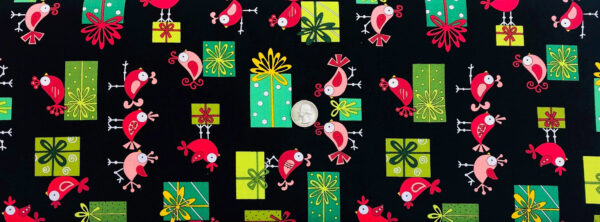 Cute red and pink birds on green Christmas presents on a black background. Holiday Tweets by Andover 128 - 1 yard of fabric.