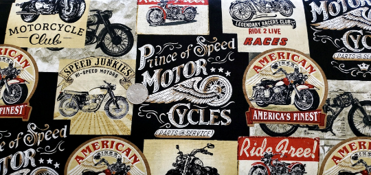 Black, white and red motorcylces and motorcycle words. Timeless Treasures C8049 - Fabric by the yard.
