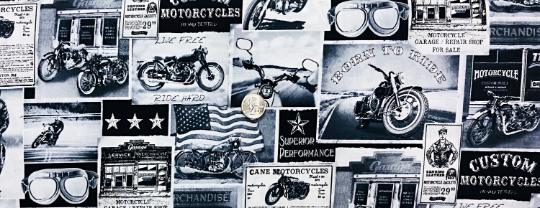 Vintage motorcycles in black, white and grey. Era News by Timeless Treasures C3646 - Fabric by the yard