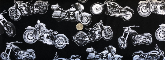Black and white motorcycles toss on black. Motorcycle Lovers.FUN BLACK by Timeless Treasures C7717 - Fabric by the yard