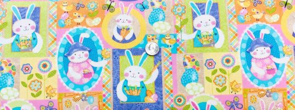 Easter bunnies in square and oval frames in pastels. Carrot Patch by Studio E Fabrics 4460 - Easter Fabric - Fabric by the yard