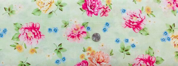 Garden Grandeur green base with pink and peach roses with small blue flowers. Quilting Treasures 26490 - Fabric by the yard