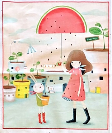 Gorjuss Girl panel with watermelon scenes. Melon Drop by Quilting Treasures 26515 - 5/8 th yard panel.